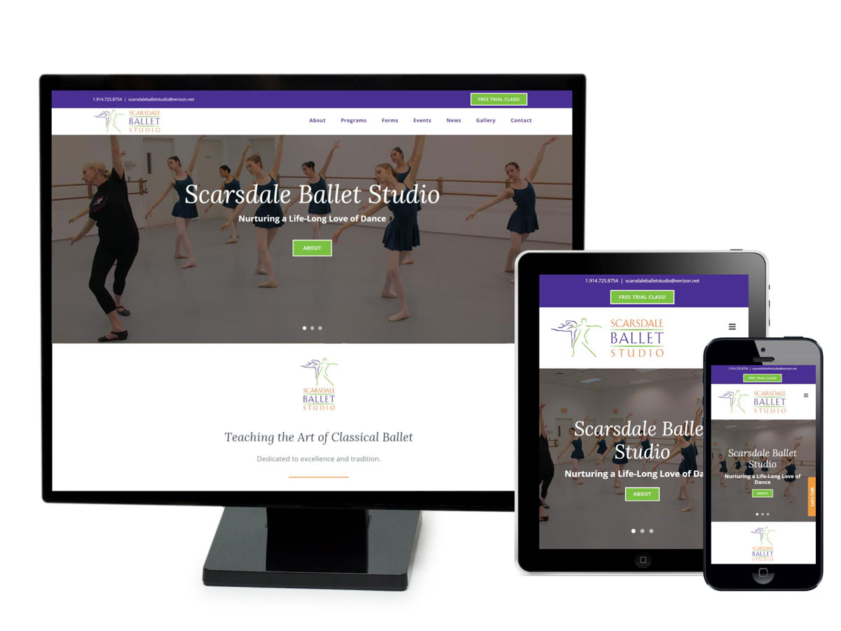 Scarsdale Ballet Studio Website Design Portfolio