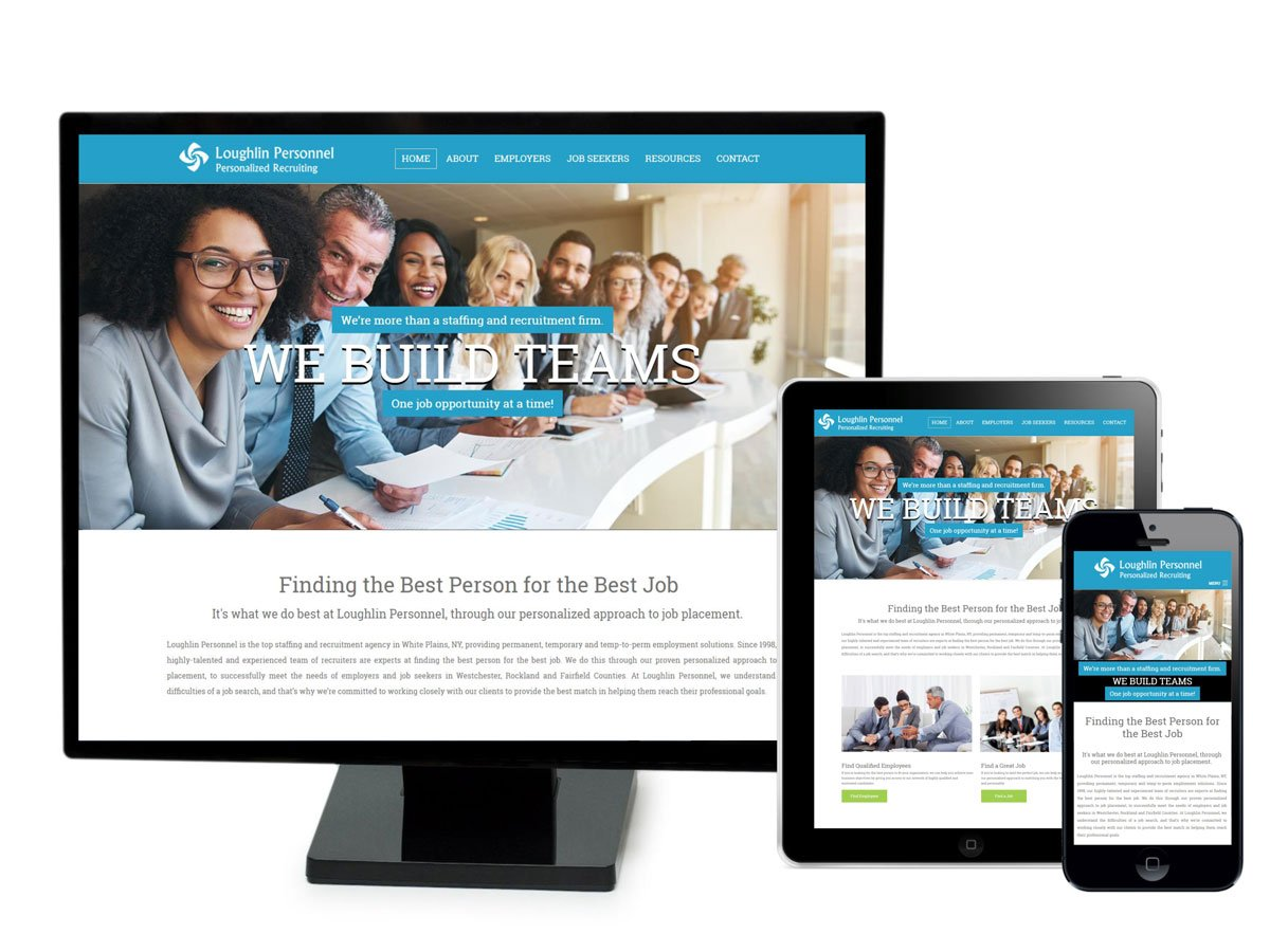 Loughlin Personnel Website on Different Screen sizes
