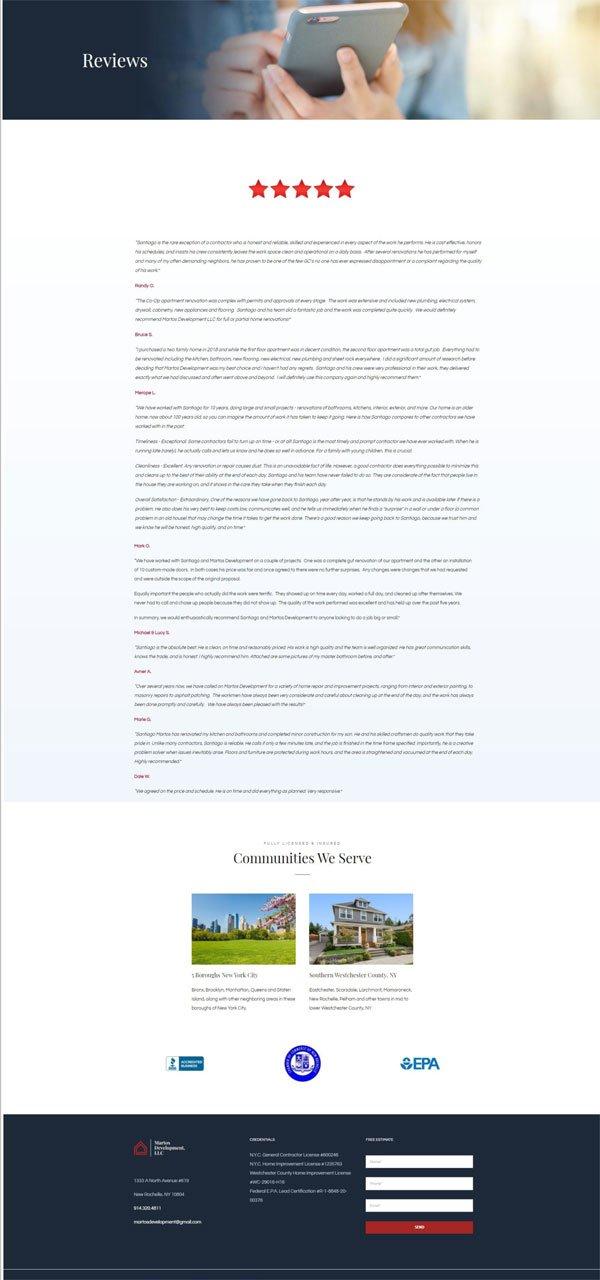 Martos Development reviews page screenshot.