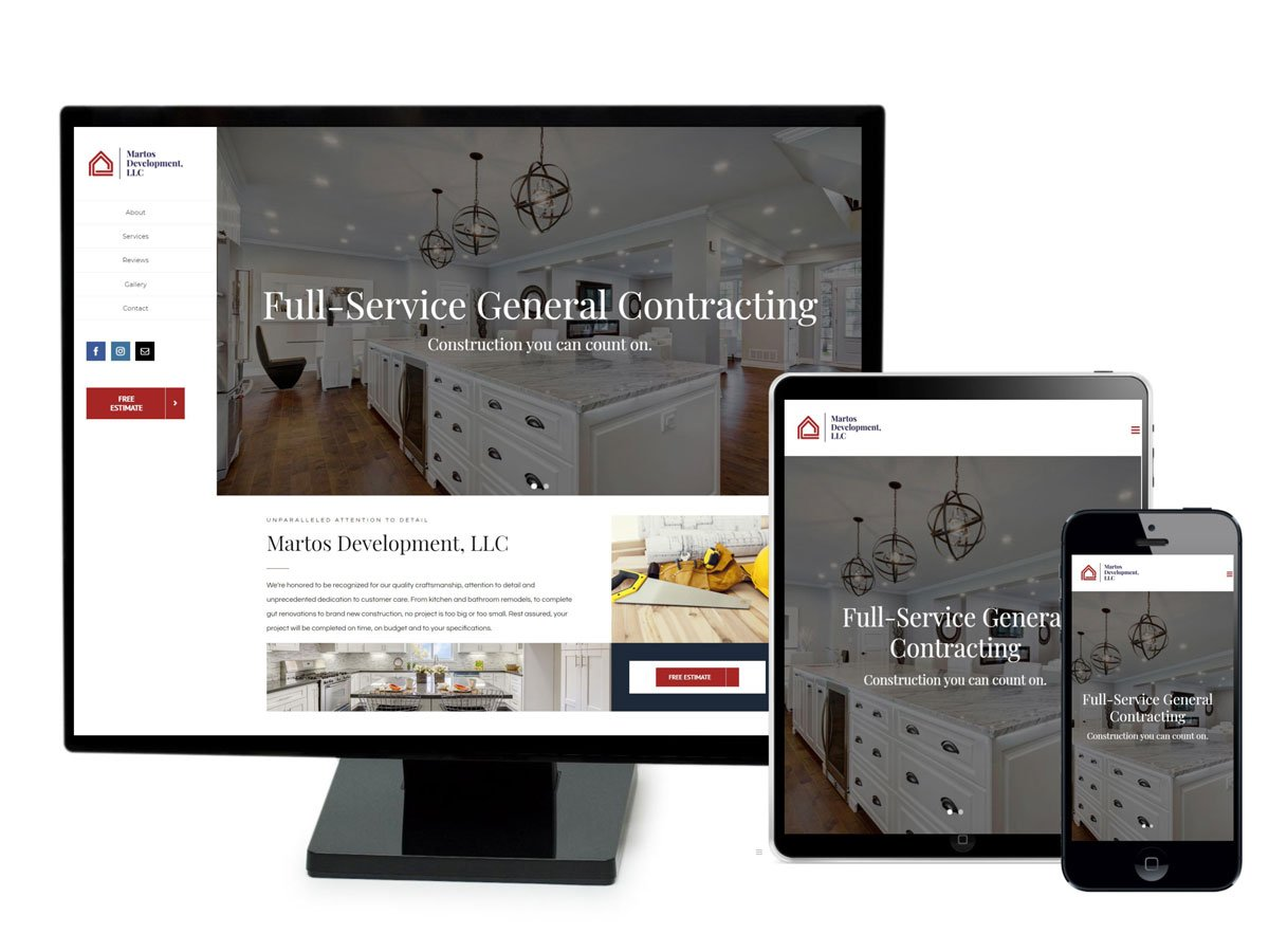 Martos Development website displayed on three different sized screens.